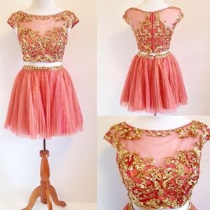 Sherri Hill Gold and Coral Formal Dress
